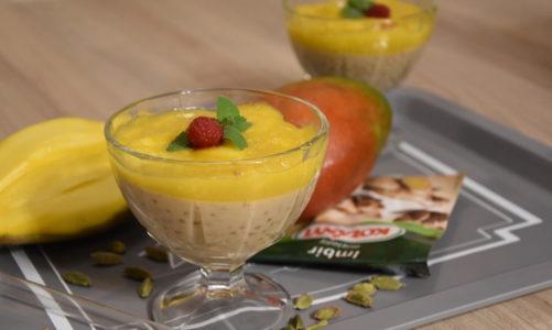 Kokosowy deser z tapioki i mango